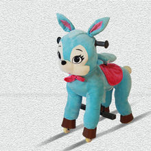 Ridesfun grey puppy electronic walking coin operater machine ride on plush horse amusement park train rides for sale