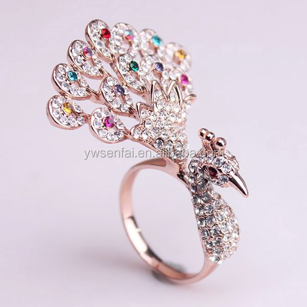 rings shape stylish rhinestone v wedding gold animal studded ring for