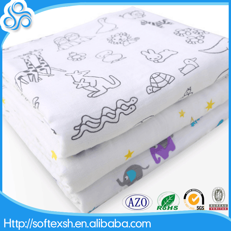 BSCI & SEDEX Certificated Factory Free Sample Muslin Fabric Printed Baby Wrap Organic Baby Swaddle Summer Swaddle