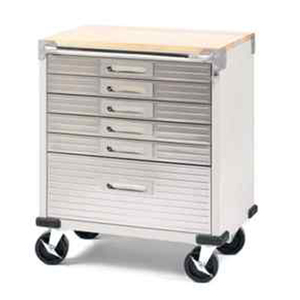 "72"" US General Heavy Duty Stainless Steel Tool Chest 33 Drawers Slides Box Cabinet With Wooden Top"