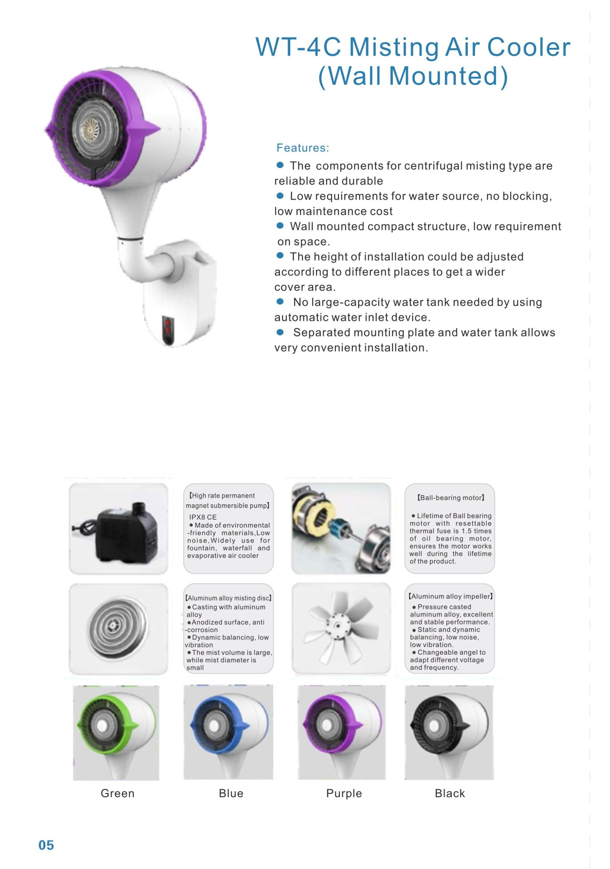 New design auto water inflow industrial wall mounted factory used high pressure mist fan