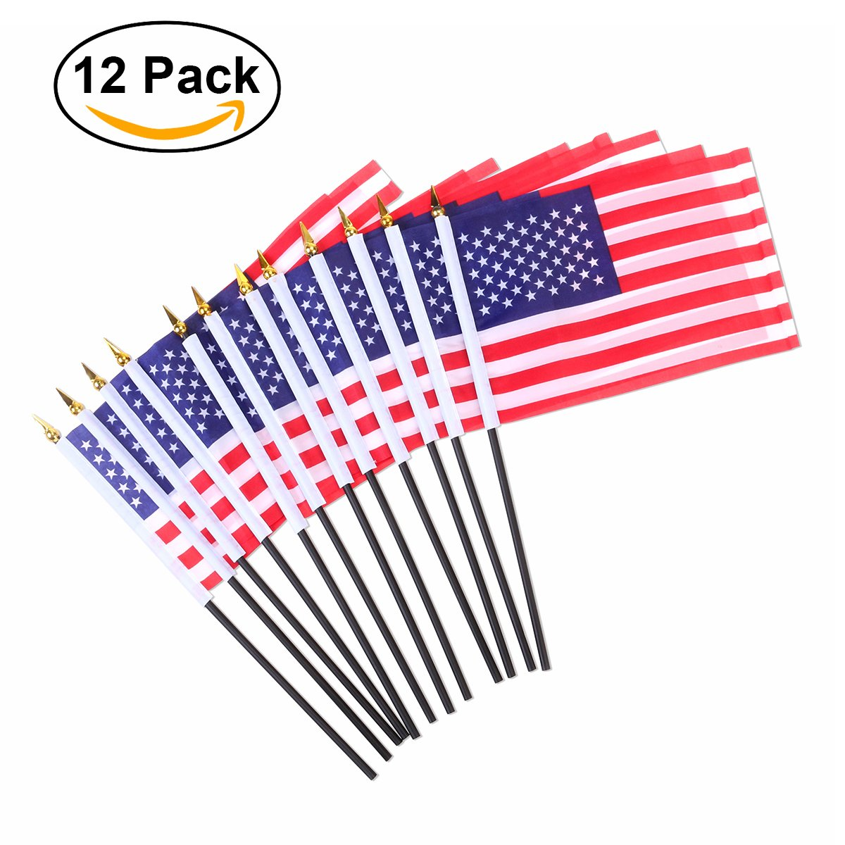 "Tinksky 12pcs American Flags 8"" x 5"" Hand Flags Mini US Flags on Stick for 4th of July Decoration and Patriotic Events"