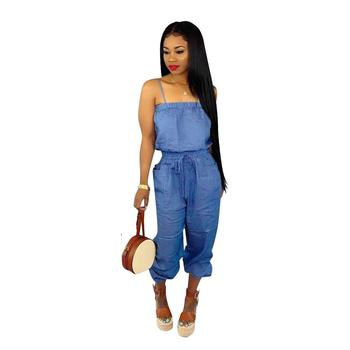 Womens Denim Sexy Baggy Style Strappy Sling Falbala Jumpsuit Rompers