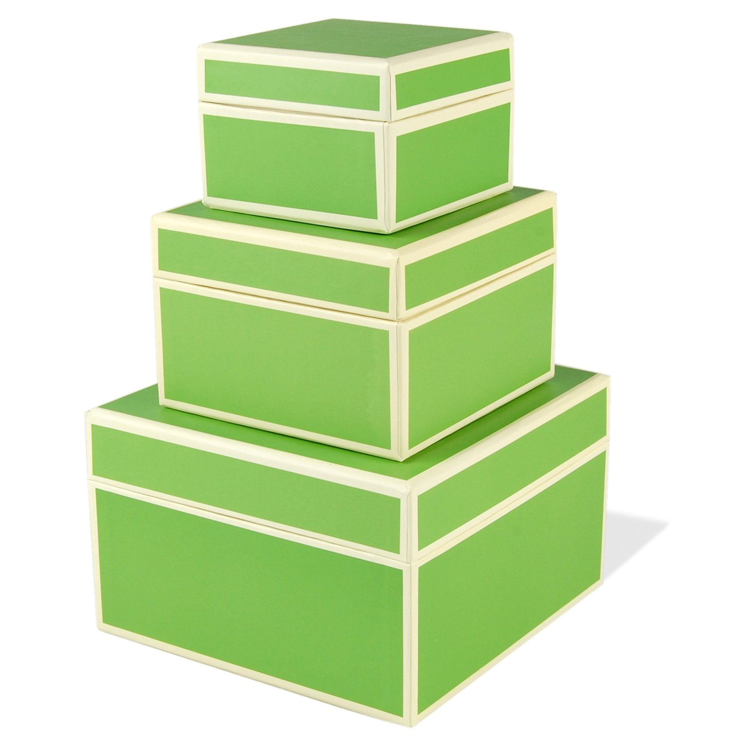 Set of 3 rectangular boxes lime, large +++ STORAGE- or GIFT BOXES +++ Quality made by Semikolon
