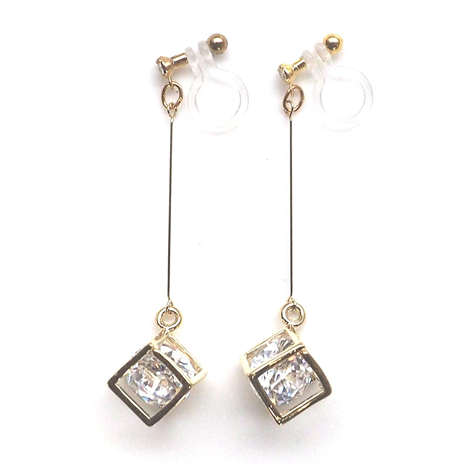 Miyabi Grace Women's CZ Crystal in Cube Invisible Clip On Earrings Dangle Cubic Zirconia Gold tone