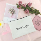 Canvas Zipper Pouch Canvas Small Makeup Bag Wholesale Cotton Small Cosmetic Makeup Pencil Case Bag Logo Blank Canvas Zipper Pouch