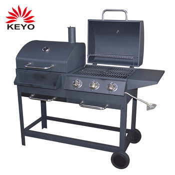 Double Cooking Side Outdoor Charcoal Combo Combination Hybrid Barbeque Bbq Grills Piezo Ignition 3 Burner Gas