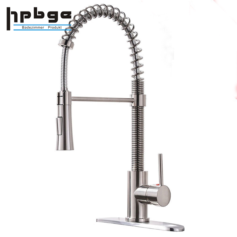 Lead Free Modern Stainless Steel Single Handle Pull Down Sprayer <strong>Spring</strong> Brushed Nickel <strong>Kitchen</strong> <strong>Faucet</strong>, <strong>Kitchen</strong> Sink <strong>Faucet</strong> with