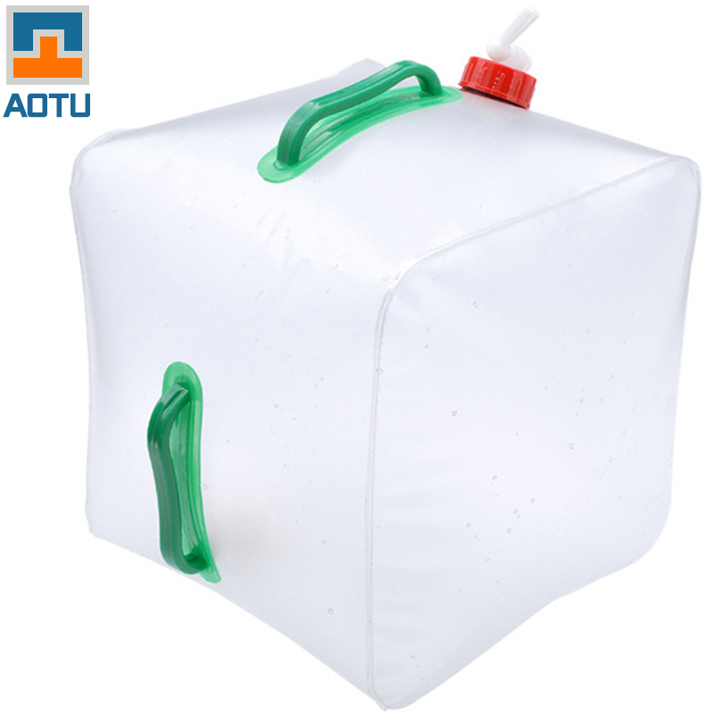 Outdoor camping use foldable 20L PVC clear water bag water carrier water container