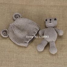 Hand Crochet Knitted Baby Hat Teddy Bear Bonnet Photography Photo Prop newborn knitting hats 0 3