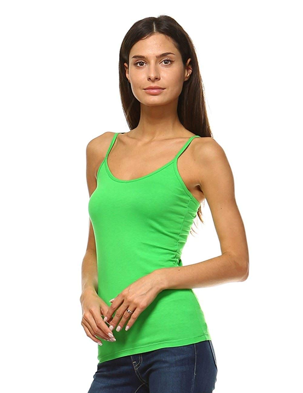 478d4472e32c3 Get Quotations · Anna Women s Camisole 3-Pack Basic Cami Tanks Spaghetti  Strap Super Tight Fit Solid Various