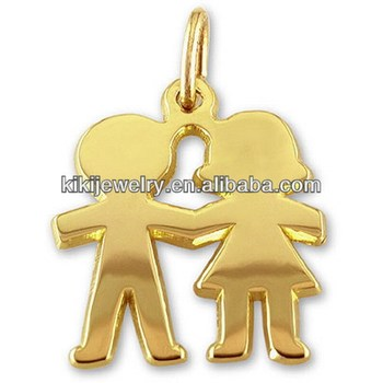 Latest Design Cheap Gold Plated Engravable Boy And Girl Charm With