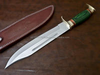 Bowie Hunting knife 440c Blade Brass thumb guard and green Pakkawood handle overall 16""