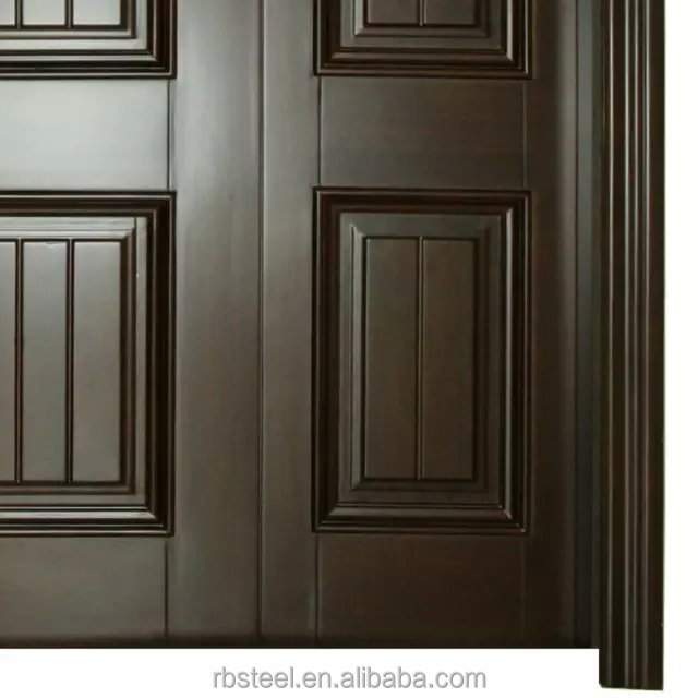 China made solid wood one small door and one big door for Big main door designs