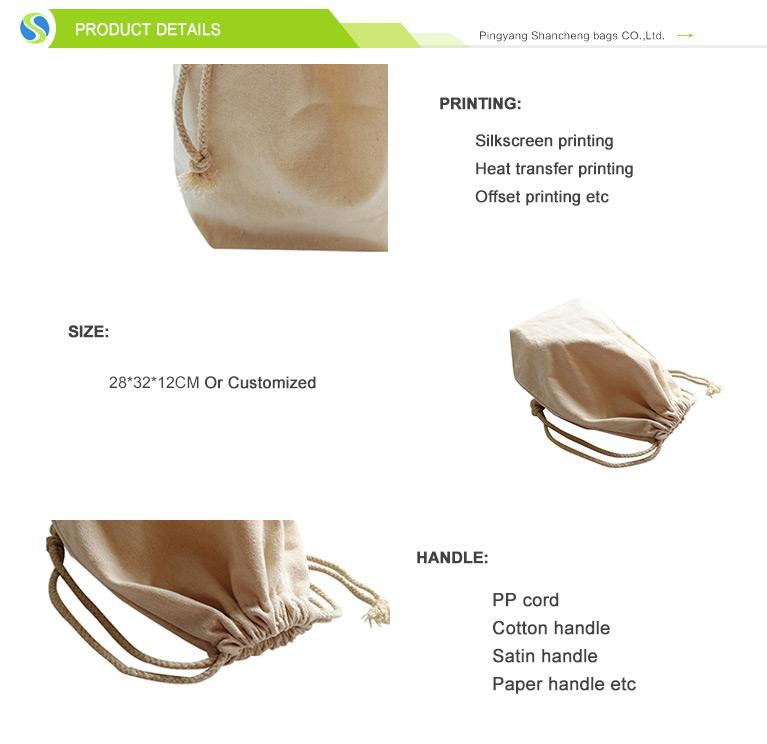 Custom logo cotton backpack canvas drawstring backpack bag cotton canvas drawstring cotton bag
