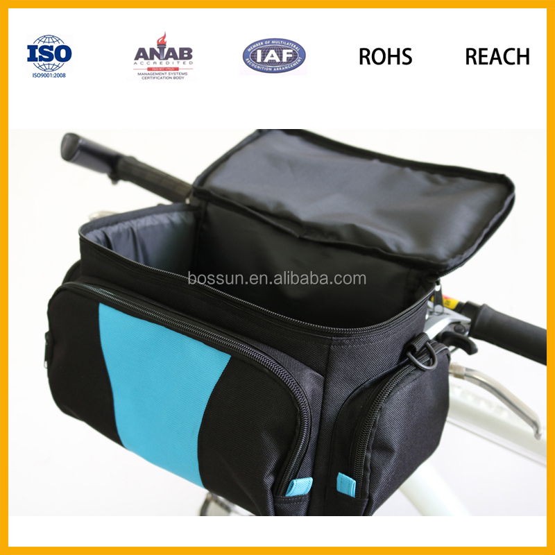 2016 Popular Design 600D PVC Large Capacity Waterproof Handlebar Bike Bag Bicycle Cooler Bag for Picnic, Lunch, Food