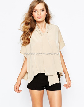 9f5383a41232 Latest fashion women casual top European design dipped hem pussy bow shirt women  top for wholesale