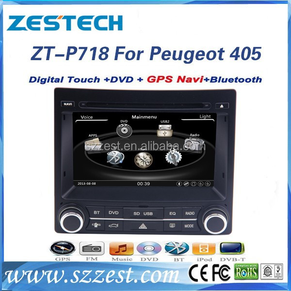 ZESTECH touch screen 2 din car radio for Peugeot 405 AM/FM/DVD/MP3/CD/Bluetooth/GPS/Aux/Radio