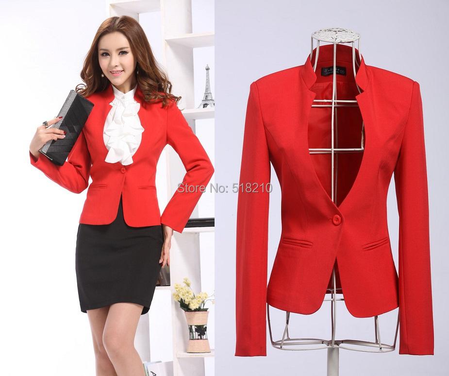 fc987c71aa5 New Elegant Red 2015 Feminino Autumn Winter Women Blazer Coat Jackets Tops  Blaser For Office .