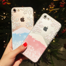 Gold Supplier Cherry Blossoms Pattern Cover, for iPhone 7 Clear TPU Case