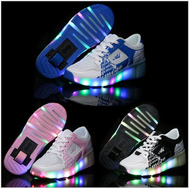 Children Sneakers with Wheels 2016 Spring Summer Mesh Light Breathable Child Heelys Roller Shoes with Wheels