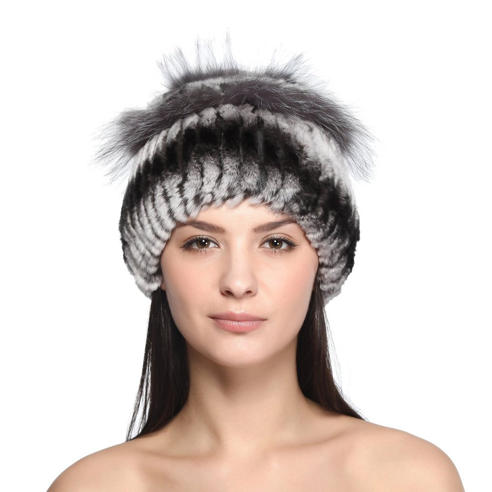Qiudu Women's Handmade Winter Rex Rabbit Silver Fox Patchwork Caps
