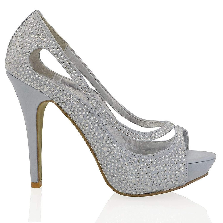 Essex Glam Womens Platform High Heel Peep Toe Satin Diamante Bridal Prom Shoes