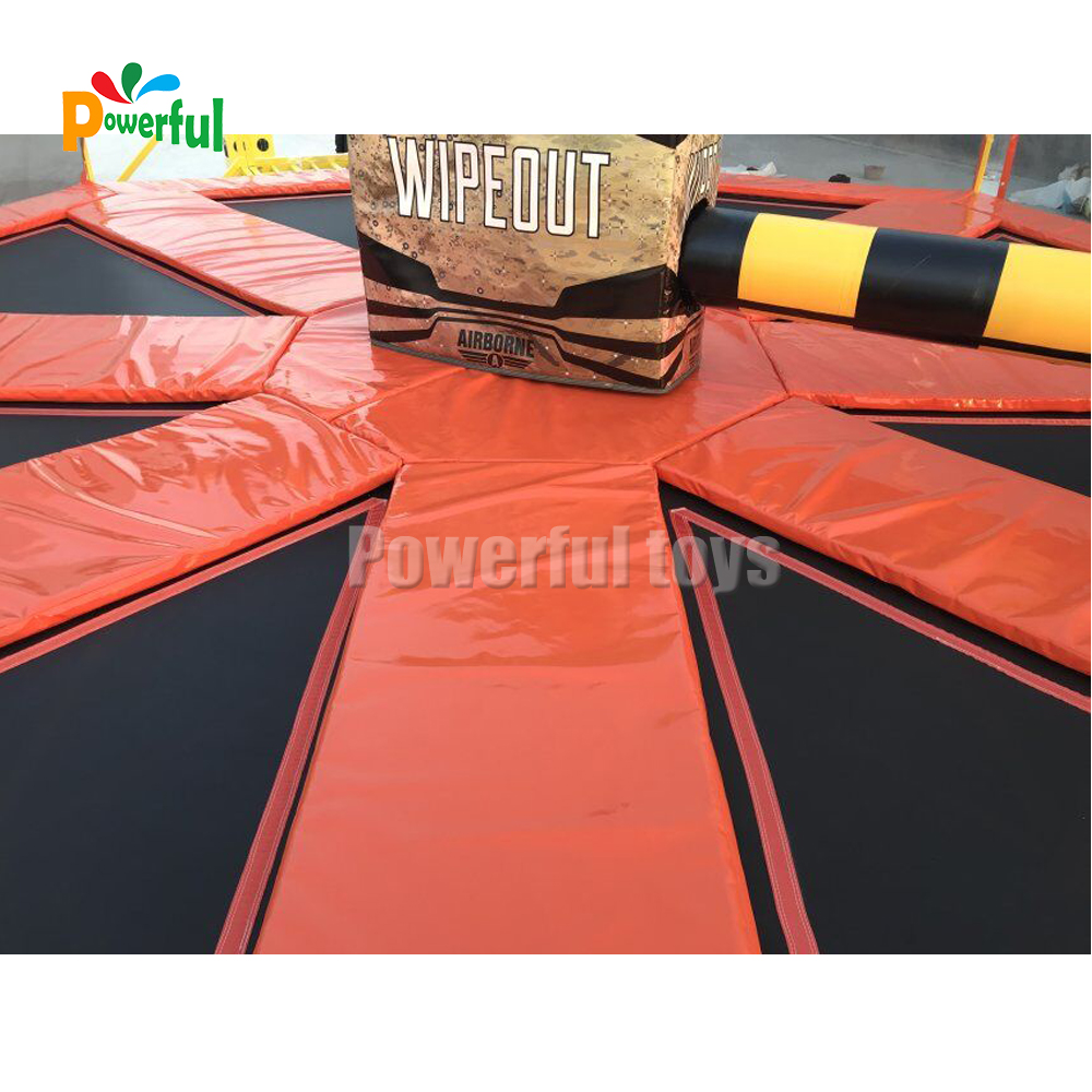 Trampoline park wipeout games sweeper