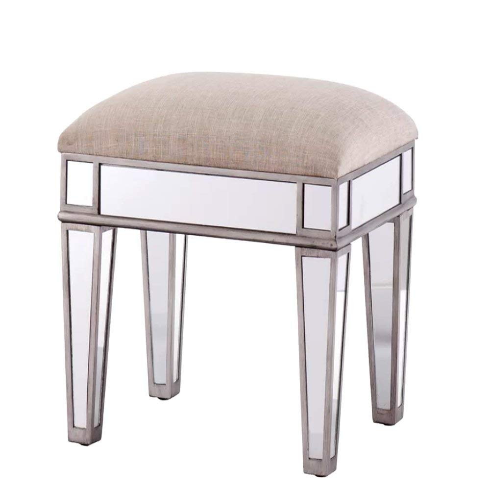 Cheap Vanity Stool, Modern Antique Contemporary Rectangular Mirrored Vanity Stool with Wood Frame and Beige Linen Seat & E-Book