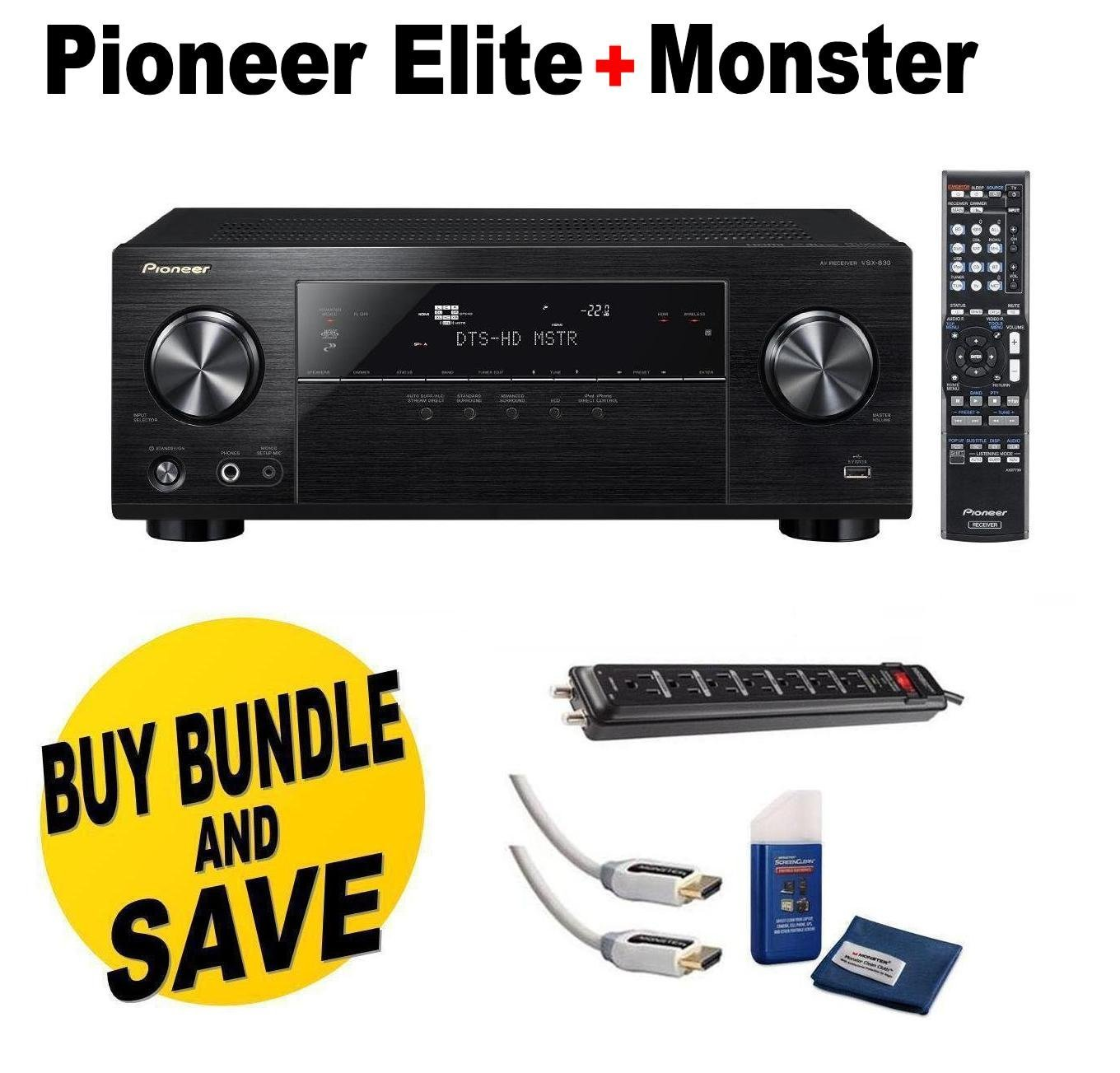 Pioneer VSX-830-K 5.2-Channel AV Receiver with Built-In Bluetooth and Wi-Fi (Black) + Monster Home Theater Accessory Bundle Two Monster 6 ft. High Speed HDMI Cables,Monster Home Theater Power Center and Screen Cleaning Kit + Cloth Bundle