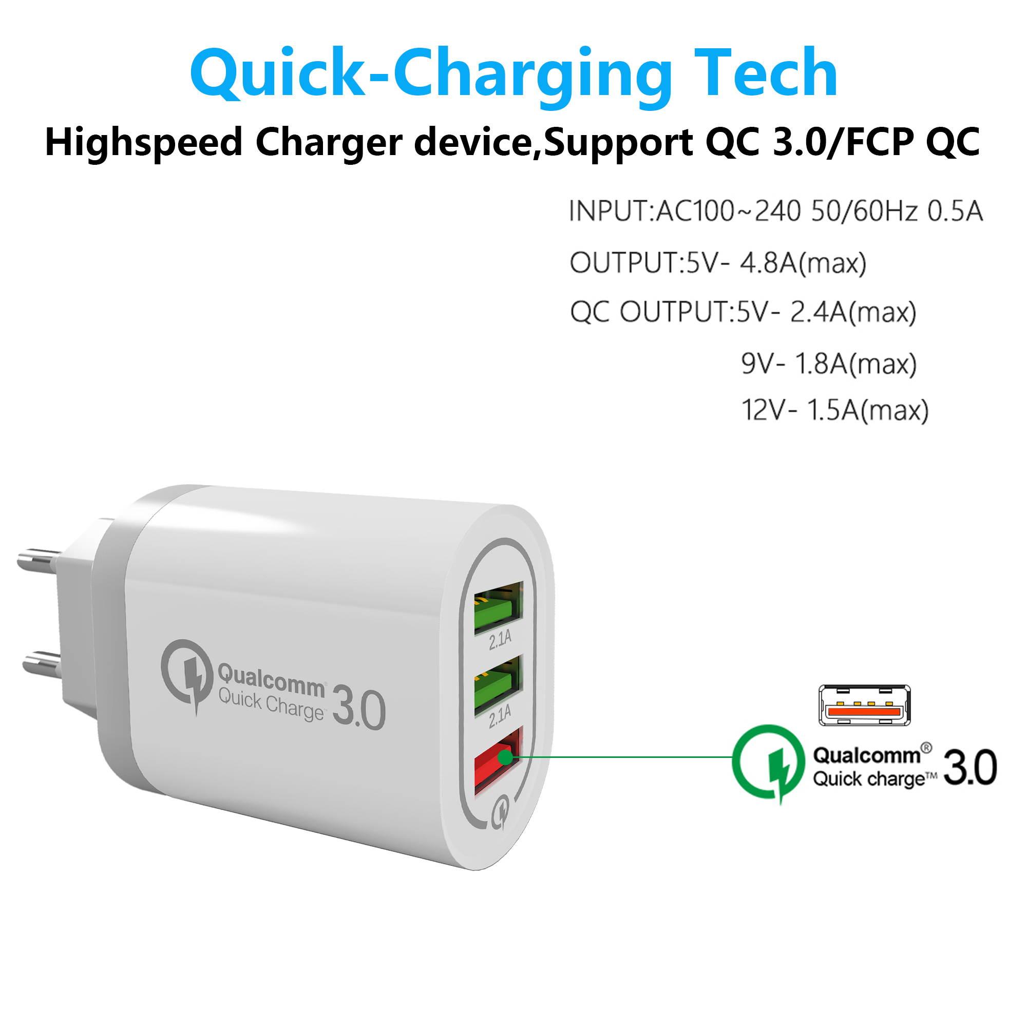 Mobile Phone Accessories quick charge Micro Usb Charger for QC 3.0 hot selling