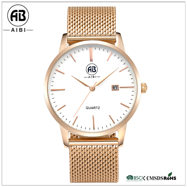 AIBI Black/Gold Japan Quartz OEM Man / Boy Fashion New Style Hand Watch