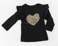 Wholesale remake boutique leopard black gold print long sleeve pants ruffle baby girls sets children outfits clothes clothing