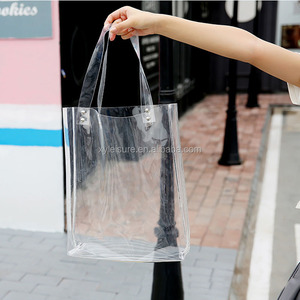 custom pvc clear handbag shopping bag transparent shoulder bag