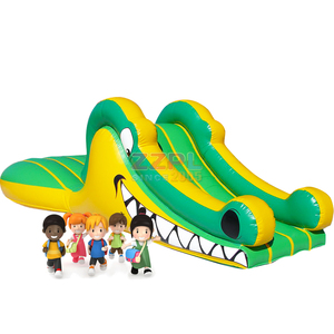 ZZPL Small Inflatable Crocodile Slide for toddlers, Indoor Inflatable Slide Trampoline for kids