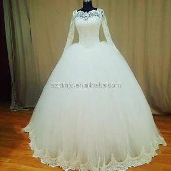 Real Sample Long Sleeve Ivory Wedding Dresses Lace Applique Elegant ...