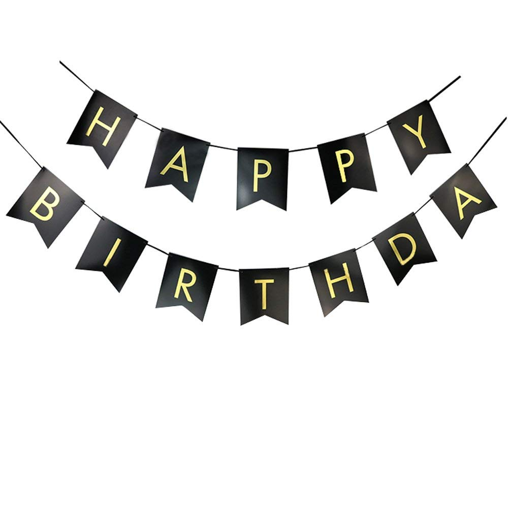 BTSD-home Black Happy Birthday Bunting Banner with Shimmering Gold Letters - Birthday Decorations - 21st - 30th - 40th - 50th Birthday Party Supplies