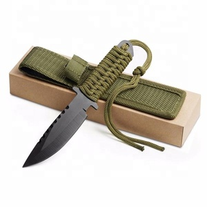 Knives Military Survival Camping Outdoor Tactical Hunting Swiss Knife Blade with Rope Low MOQ 200 Custom Logo