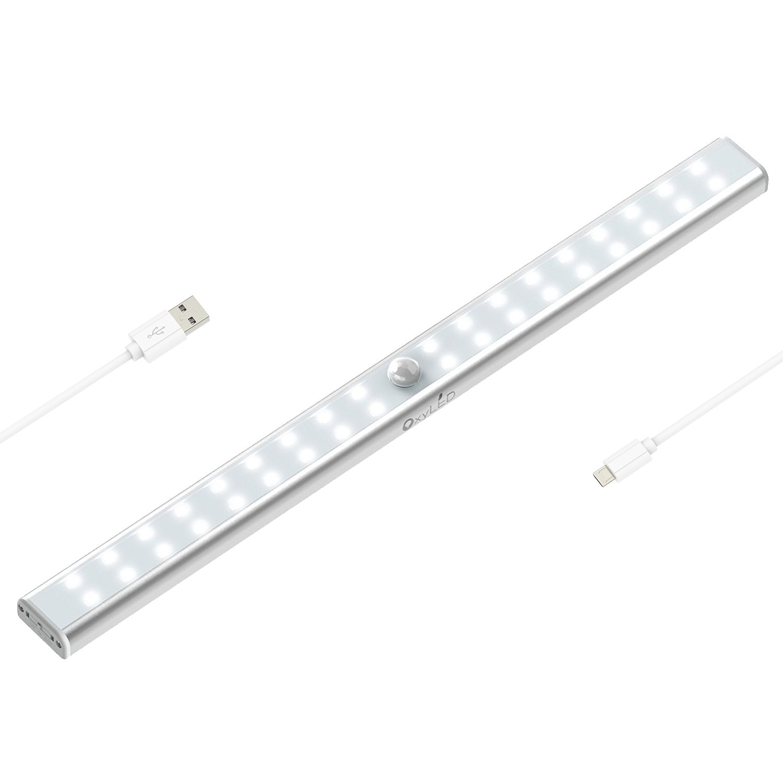 OxyLED T-02US 36 LED Motion Sensing Closet Lights USB Rechargeable Under Cabinet Lightening, Stick-on Cordless Sensor Wardrobe Bar, Super Bright Magnetic Strip