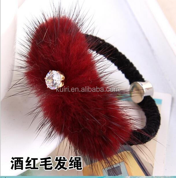 Mink Fur Pompom Hair Ring Loops Rings For Ponytail Holders-05