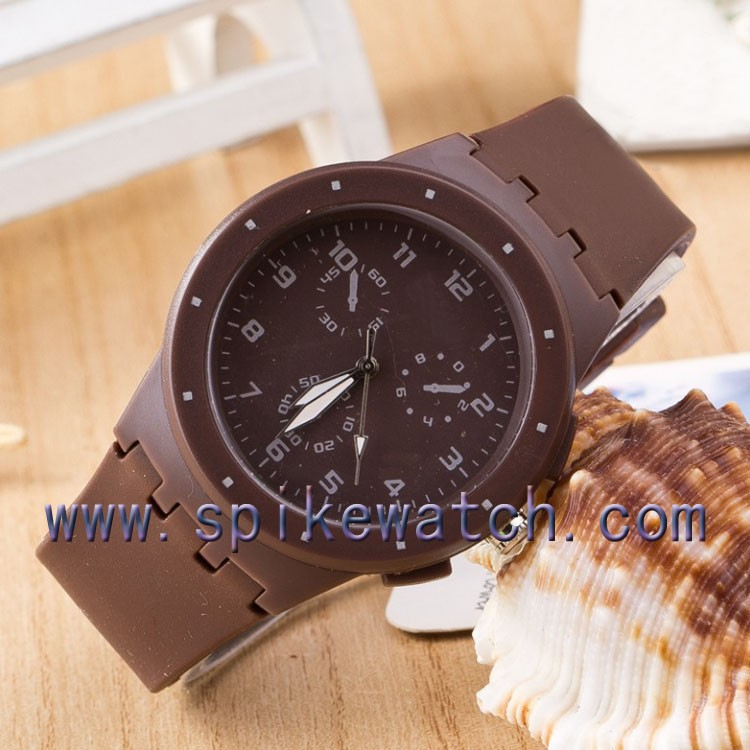 Giveaway gifts promotional quartz unisex brown color student watch