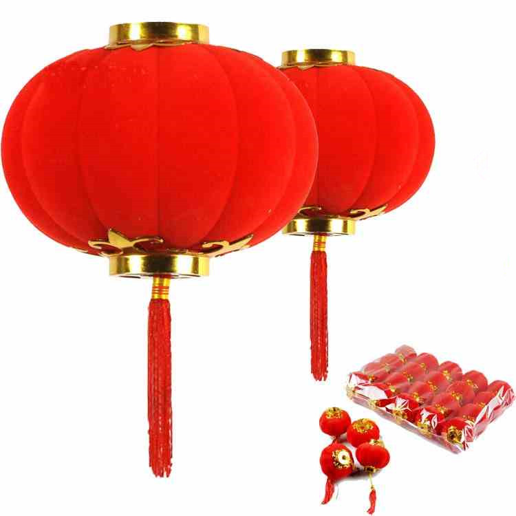 Red Mini Chinese Flocking Lantern Wedding Favors