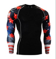 high performance men custom printed sublimation gym t shirt base layer