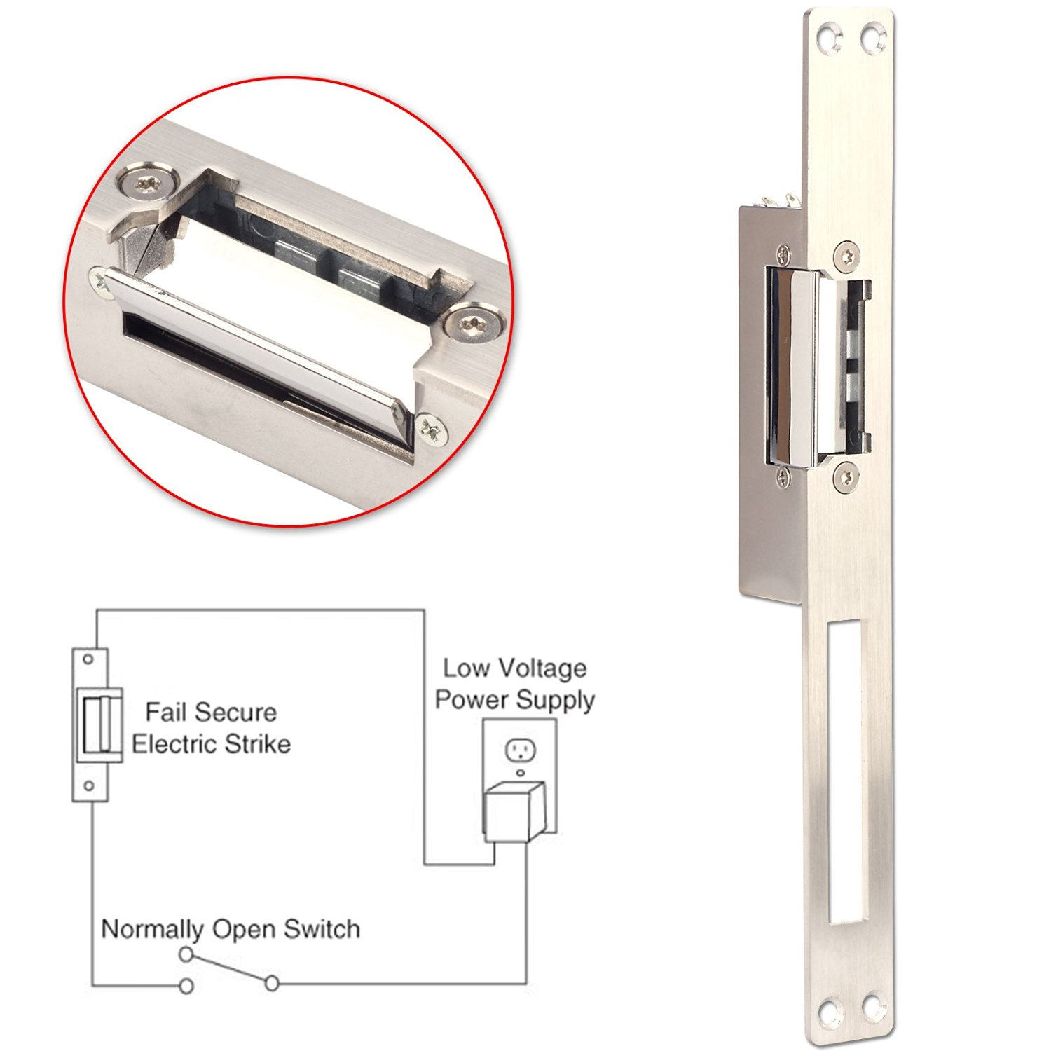 Electric Strike Lock, ZOTER Long Type Electric Door Lock for Home Office Wood Metal Door NO Mode Fail Secure DC 12V Access Control