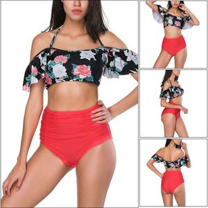 Custom High Waist Cover Belly Hang Neck Off Shoulder Ladies Sexy Mature Bikini Thailand