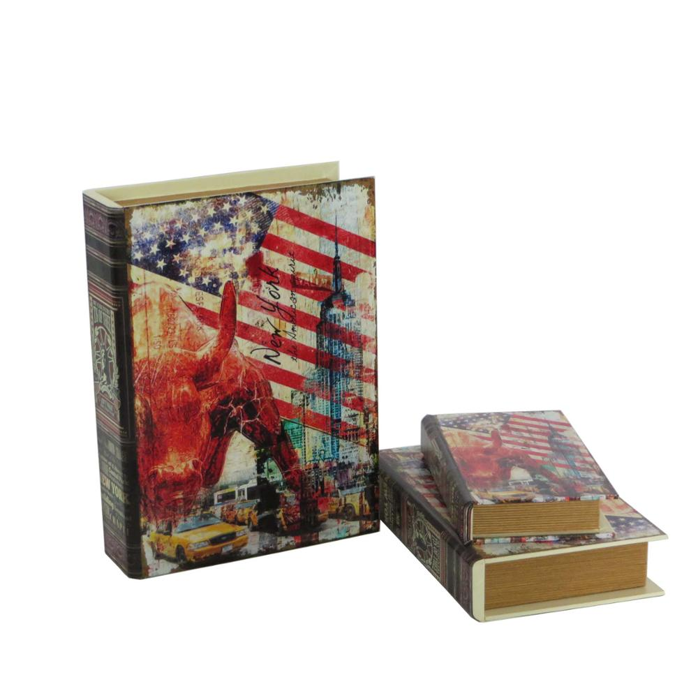 NEW YORK personalized wooden uk book box in set
