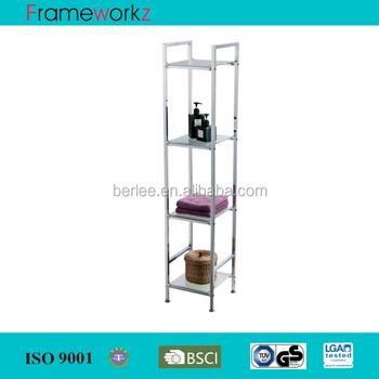 4 Tier Square Chrome Tube Glass Shelving/wire Chrome Shelving Unit ...
