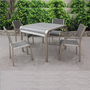 Outdoor high quality poly wood table 4 rattan chairs living furniture dining set garden patio cafe table and chair furniture