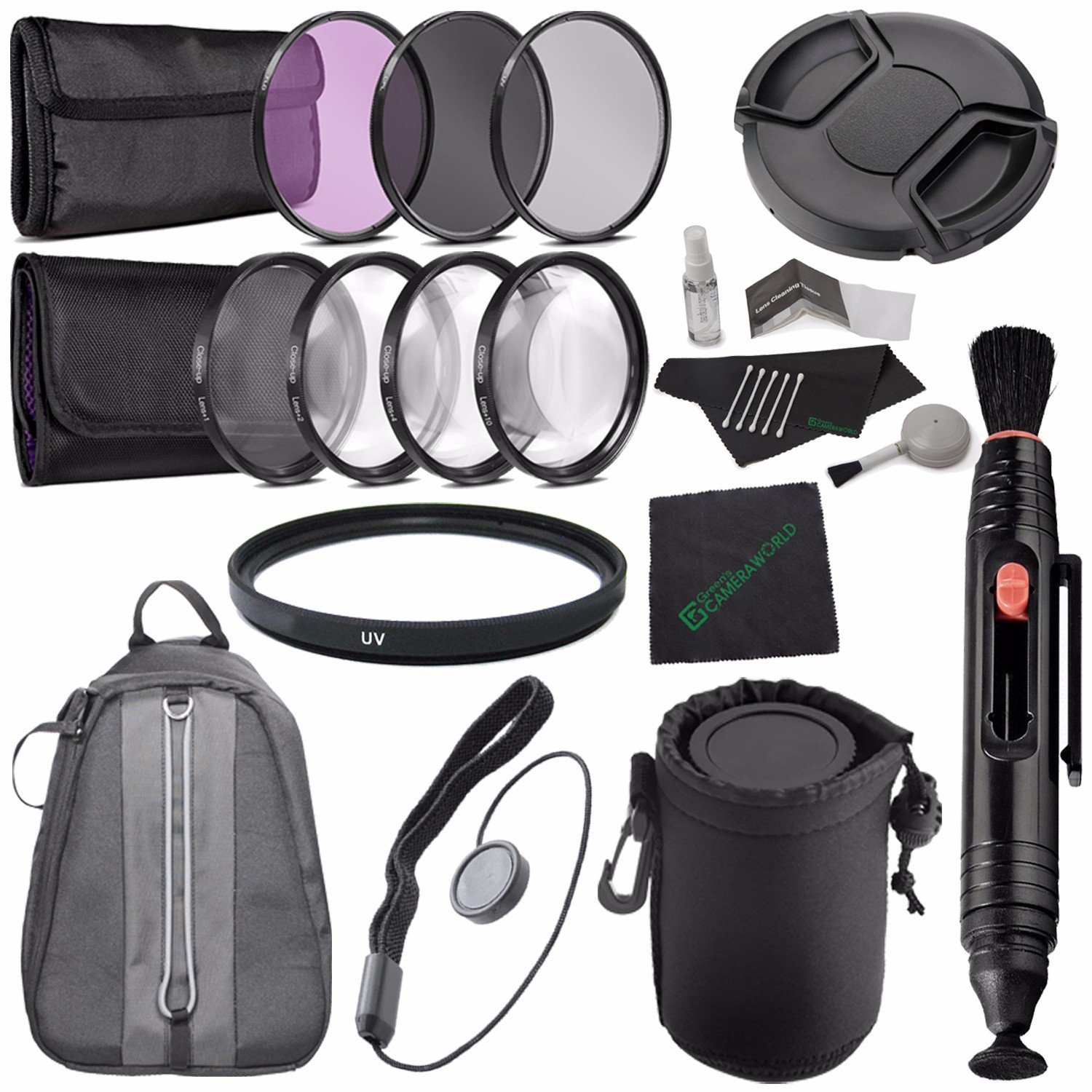 49mm 3 Piece Filter Set (UV, CPL, FL) + LENS CAP 49MM + 49mm +1 +2 +4 +10 Close-Up Macro Filter Set with Pouch + 49mm Multicoated UV Filter + Lens Pen Cleaner + Lens Cap Keeper + Cleaning Cloth Bundle