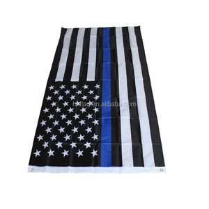 Cheap 100% polyester 3*5ft customized thin blue line American flag
